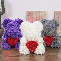 40cm Big size 2019 Valentines' Day Gift Rose flower Bear Wedding Gift Girlfriend Anniversary gift cute teddy bear for kids toy