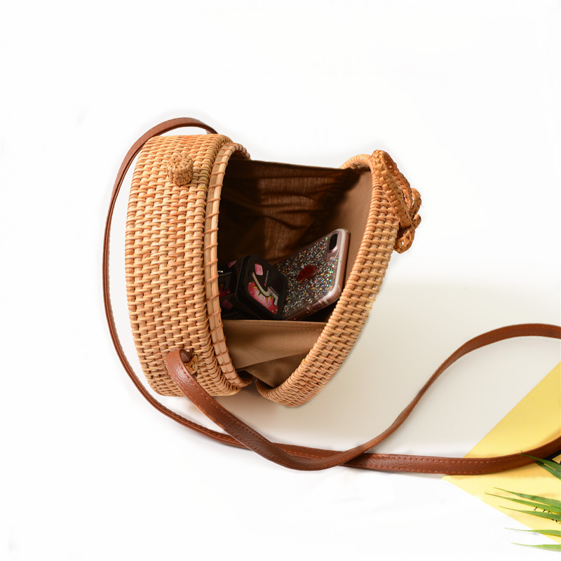 18 Round Straw Bags Women Summer Rattan Bag Handmade Woven Beach Cross Body Bag Circle Bohemia Handbag Bali 20