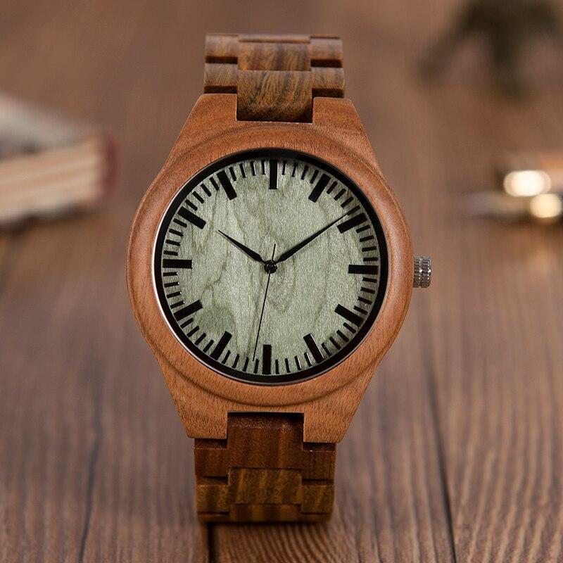 BOBO BIRD Bamboo Wooden Men Watch face Quartz Wristwatch Male erkek kol saat Green Sandalwood With All Wood Strap