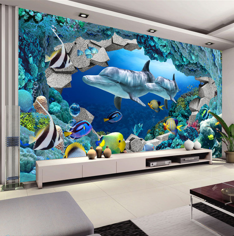 3D Wandbild Unterwasserwelt Fototapete Innen Kunst Dekoration Delfin ...