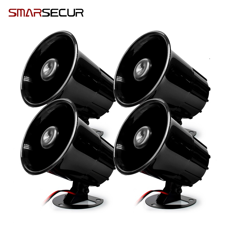 Smarsecur Black  DC12V Wired Loud Alarm Siren Horn Outdoor For Home Security Protection System Alarm Systems