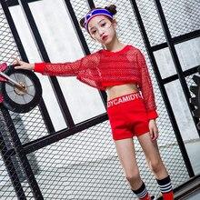 3 piezas niñas fresco rojo salón de baile Jazz Hip Hop danza competición  traje Tops Shorts Net blusa para niños bailando ropa de. df5dec37067