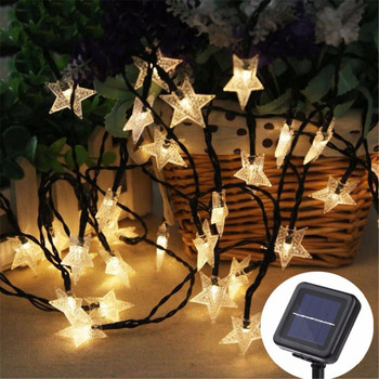 Solar LED Star String Lights Waterproof Fairy Christmas Wedding Garland Garden Lawn Tree Outdoor Decoration