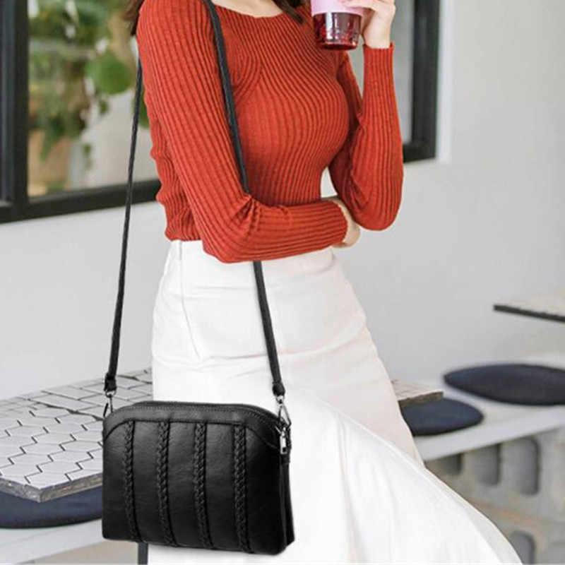 سيدة عادية حقائب كروسبودي المرأة لينة بولي Leather حقائب كتف جلدية للإناث الأم الصغيرة السوداء مخطط نسج نمط حقيبة ساعي