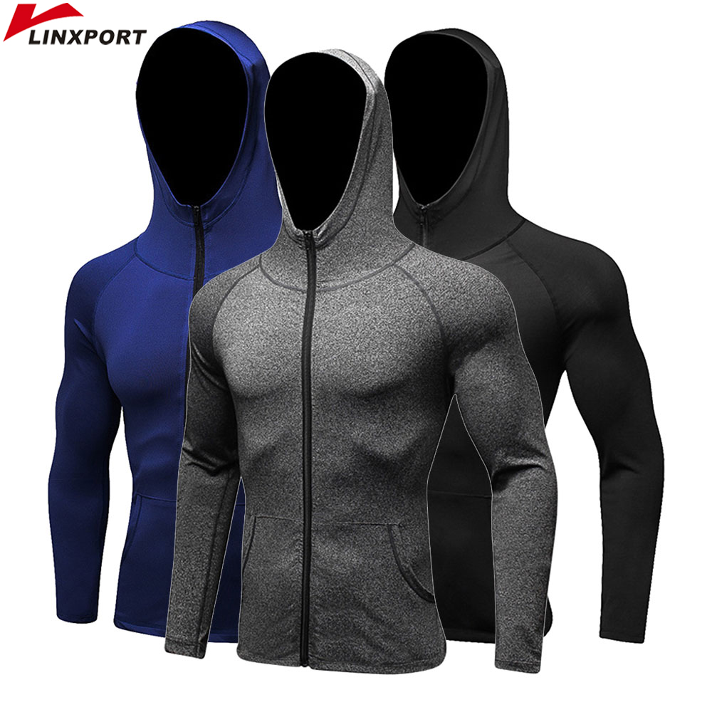 Men Running Jackets Long Sleeve Tracksuit Compression Sportswear Fitness Gym Training Hooded Dry Fit Track Suit