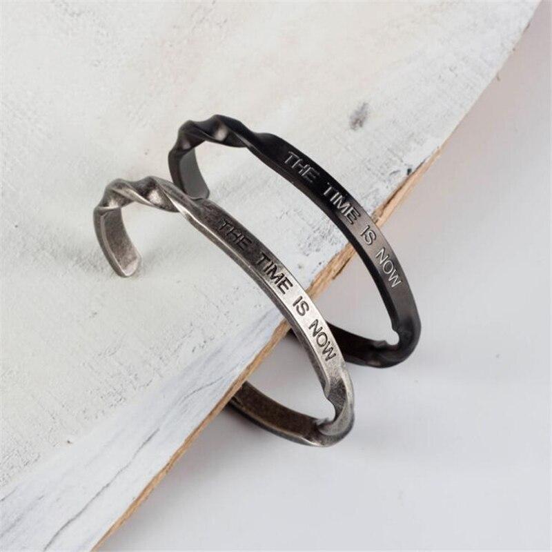 Pistolet Noir Spirale En Acier Inoxydable Bracelet Hommes Rétro Gravé lettre Hommes Bracelets & Bangles Amour Bracelet pulseira masculina