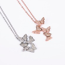 Fashion Rose Gold Silver Color Crystal Butterfly Necklace Pendant Choker for Women Jewelry Gifts
