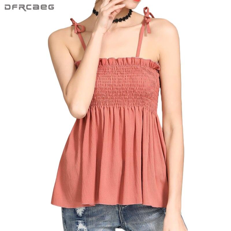 554e9afaff31 Cheap Top corto con hombros descubiertos plisado sin tirantes Halter de  verano Camisetas con volantes camisola