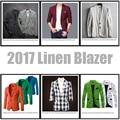 2017 Nueva Llegada de Calidad Superior de Lujo de Marca Hombre Traje de Verano de Lino de la Chaqueta Chaqueta de Los Hombres Slim Fit Diseño Beige Negro Blanco