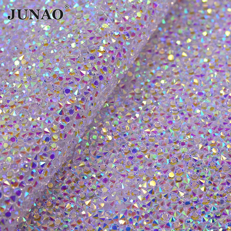 JUNAO 24 * 40cm Hotfix Transparent AB Rhinestones Mesh Trim Resin Crystal Tygblad Strass Appliques Banding DIY Bag Clothes