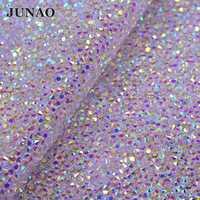 JUNAO 24*40cm Transparent AB Strass maille tissu résine cristal ruban d'habillage Strass Applique pour vêtements bijoux décoration