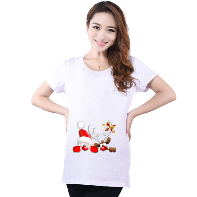 cotton santa claus cartoon brand maternity t shirts casual pregnancy maternity clothes christmas funny maternity shirts