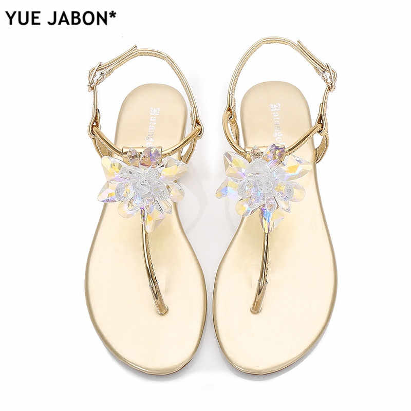 ... 2018 shoes woman sandals women Rhinestones Chains Flat Sandals plus size  Thong Crystal Flip Flops sandals 381710432450
