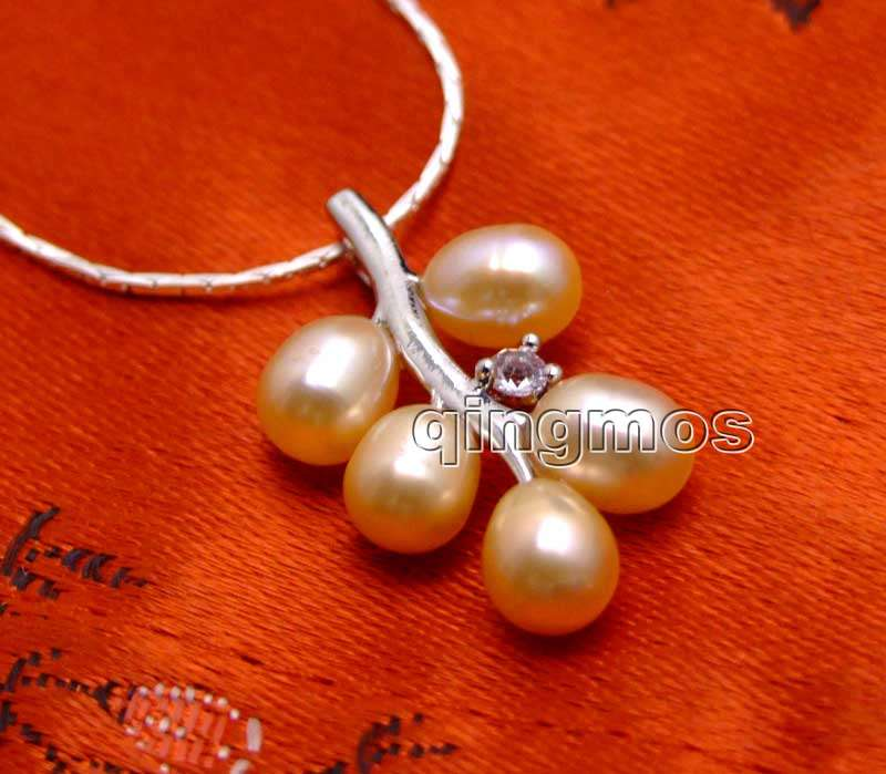 6-7mm Pink Rice Natural Pearl with 18*28mm Grape Pendant free 17 Silver plated Chain-nec6236 Wholesale/retail Free ship