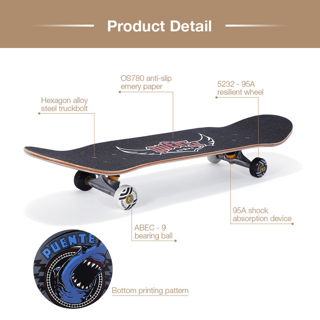 PUENTE 608 ABEC - 9 Adult Four-Wheel Skateboard Double Snubby Maple Skateboard 5 Inches Magnesium Aluminum Alloy Truck 4