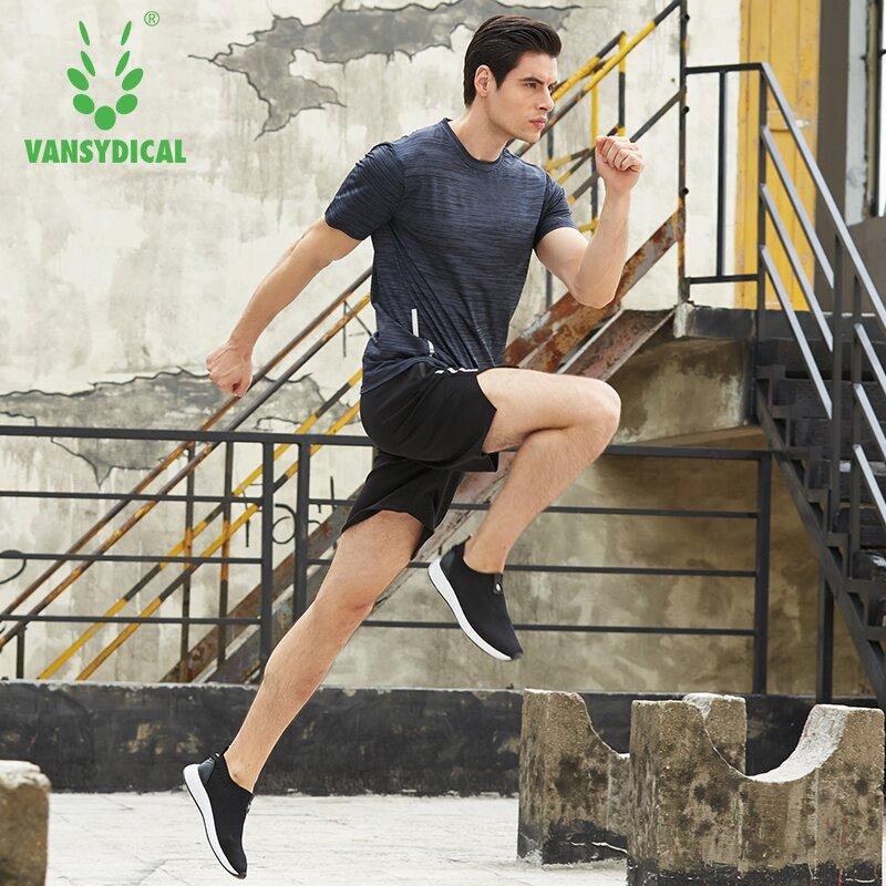 2018 Vansydical Running Suit Men Breathable Mens Tracksuits Gym Fitness Shirts Shorts Set Man Workout Jogging Suits Sportswear