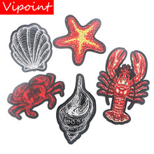 VIPOINT embroidery crab patches conch badges applique for clothing XW-11