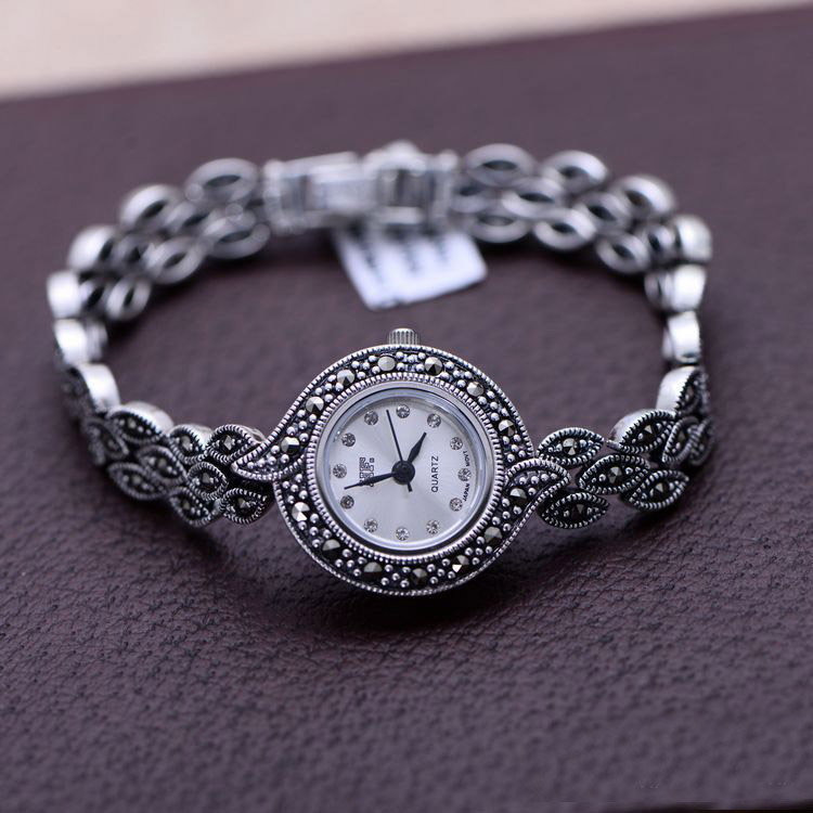 Limited Classic Elegant S925 Silver Pure Thai Silver Flower Bracelet Watches Thailand Process Rhinestone Bangle Dresswatch s925 wholesale silver jewelry mens handmade in thailand silver buckle 6m dragonscale simple bracelet