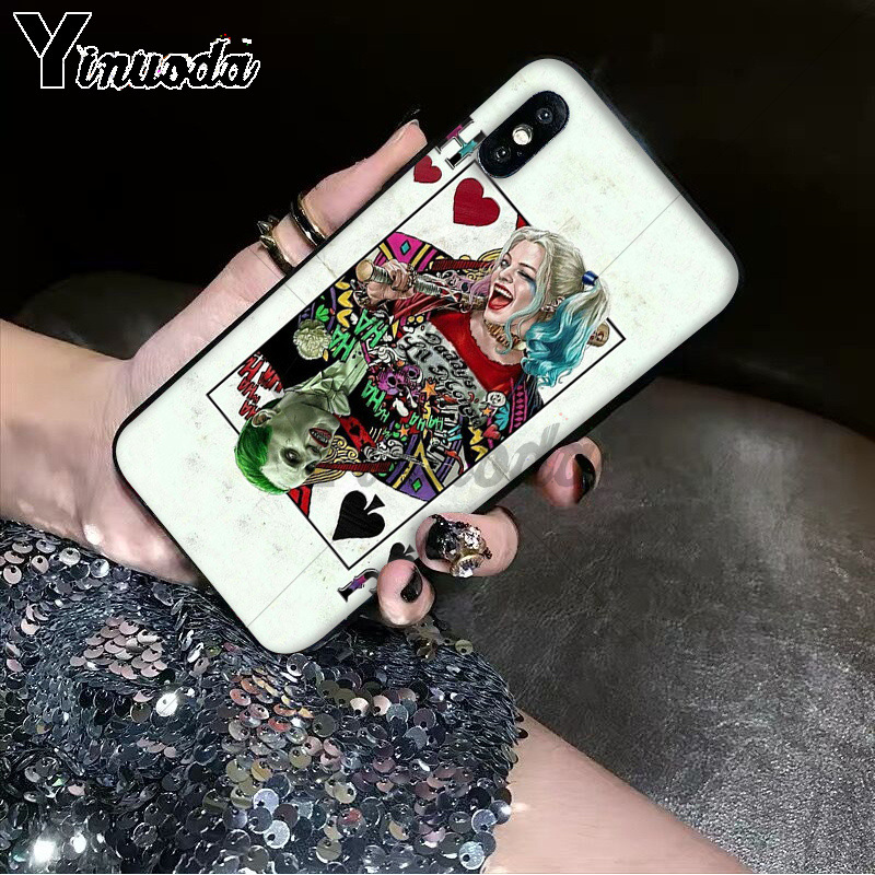 Yinuoda Harley Quinn Suicide Squad Joker Wink Coque Shell Phone Case for Apple iPhone 8 7 6 6S Plus X XS MAX 5 5S SE XR Cover