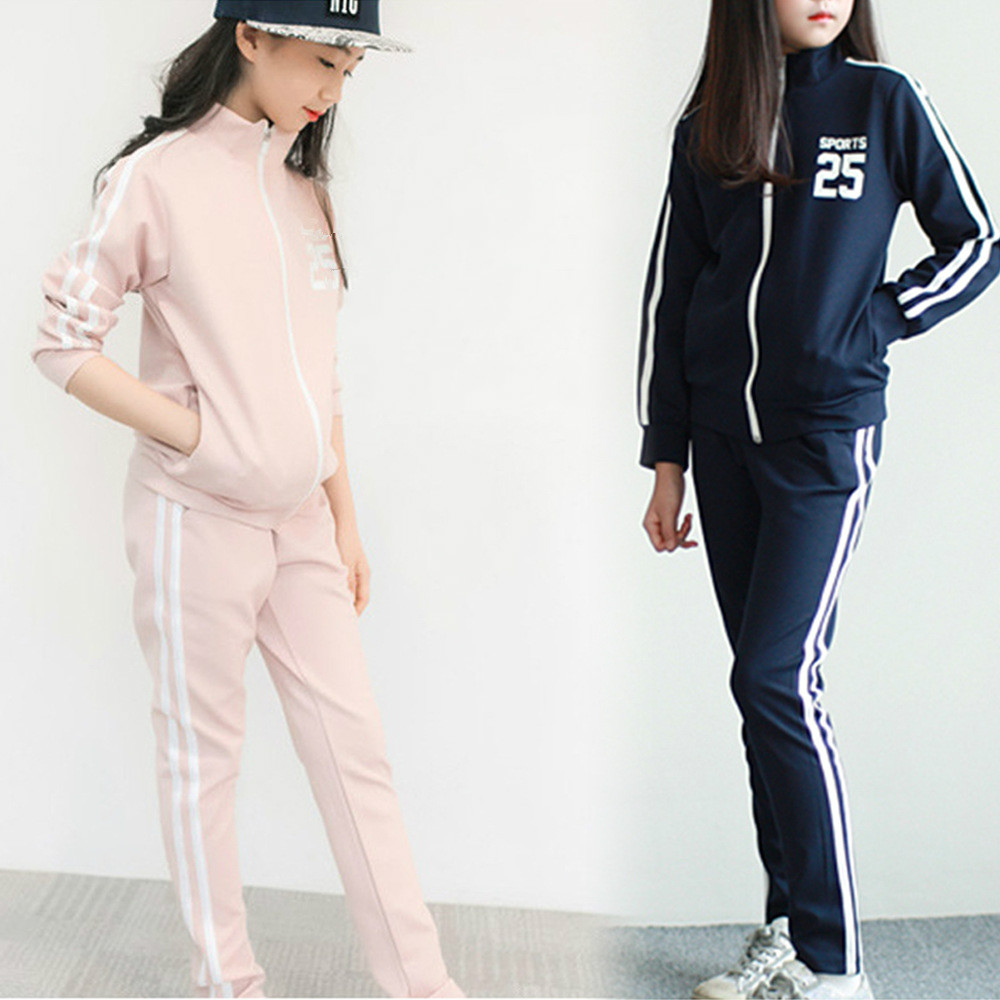 New Spring Fall Teens Girls Long-Sleeve Sports Set Female Kids Casual Sweater Suit Children Clothes Teenagers Tracksuits CA343 new spring kids clothes navy long sleeve pullover striped sports suit casual boys clothing set z249
