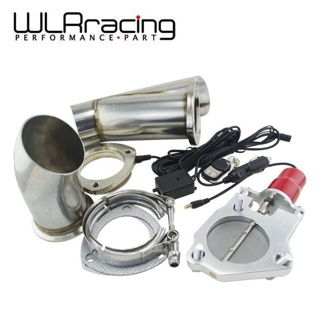 WLRING STORE 3 Stainless Steel Headers Electric Exhaust CutOut Kit with Remote control 3inch Exhuast cutout