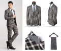 Discount Price 2016 New Black Plaid Men Suits One-Buckle Suits Jacket Formal Men Suit Set Men Groom Wedding Suits (Jacket+Pants)