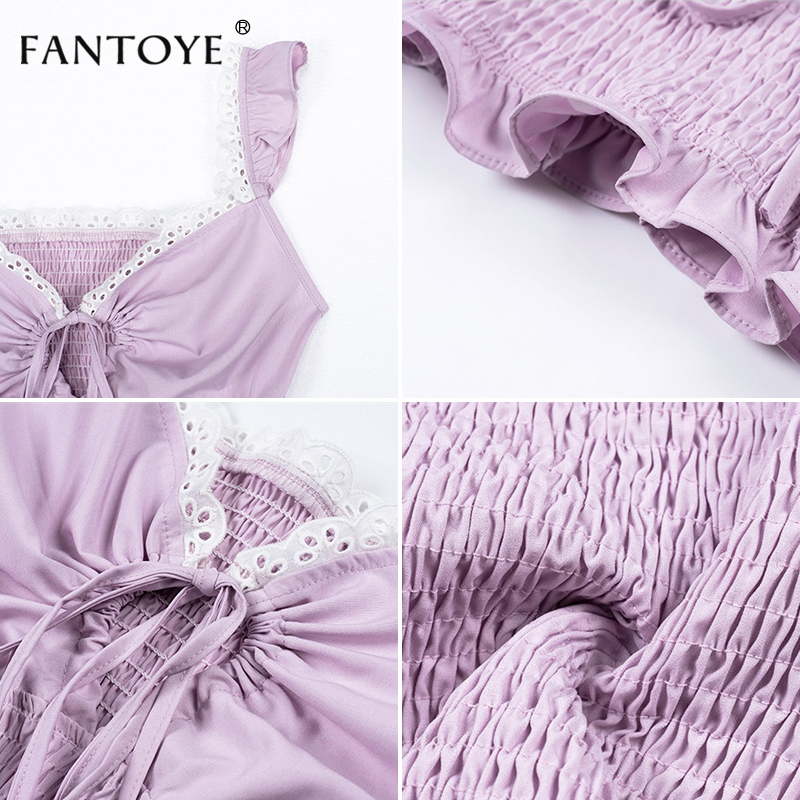 Fantoye Ruffle Trim White Lace Up Sexy Crop Top Women 2019 Cami Tank Top Femme Backless Spaghetti Bralette Crop Tops  Shirts