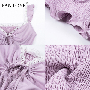 Image 5 - Fantoye Ruffle Trim White Lace Up Sexy Crop Top Women 2019 Cami Tank Top Femme Backless Spaghetti Bralette Crop Tops  Shirts