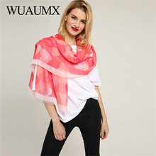 Wuaumx New Design Ladies Scarves Shawl And Wraps Scarf For Women Autumn Heart Shaped Pattern Thin Stoles Hijab Foulard Wholesale