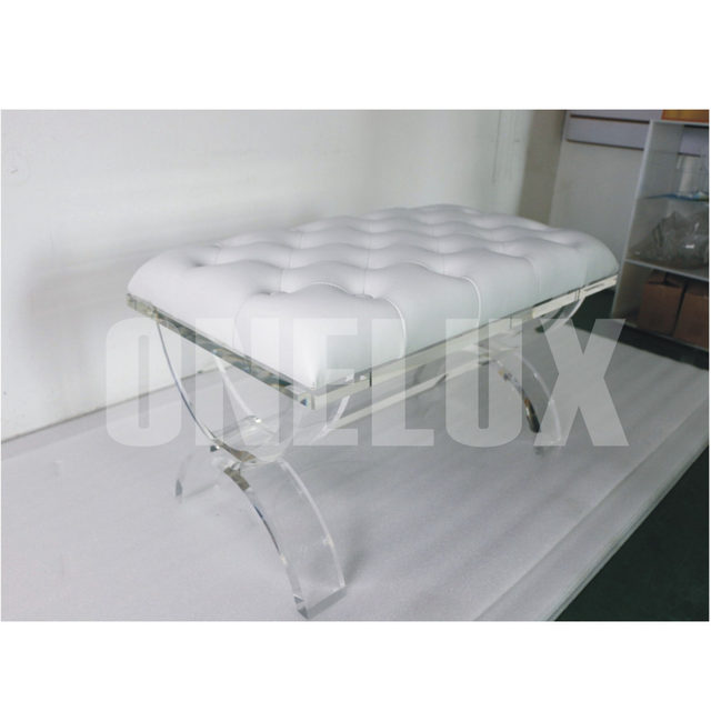 One Lux Acrylic Cross Legs Ottomans Traditional Perspex Lucite Vanity Stool Bench X Based
