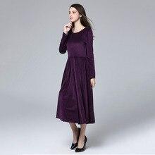 b1abf29f3b7 Marina Kaneva Autumn And Winter New long-sleeved Large Size Dress Female  Dress Slim Velvet