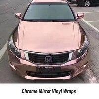 High Stretchable Rose Gold Chrome Air Bubble Free Mirror Vinyl Wrap Film Sticker Sheet Car Bike