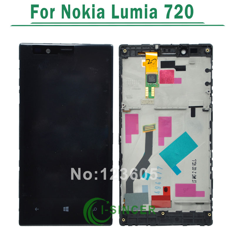1/PCS Black color For Nokia Lumia 720 N720 LCD Display with Touch Screen Digitizer with Frame Full Assembly Free Shipping