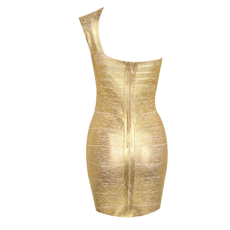 Boussac 2019 femmes robe oblique épaule Bandage fer or robe de fête de mode tempérament réparation unique épaule conception vestidos - 5