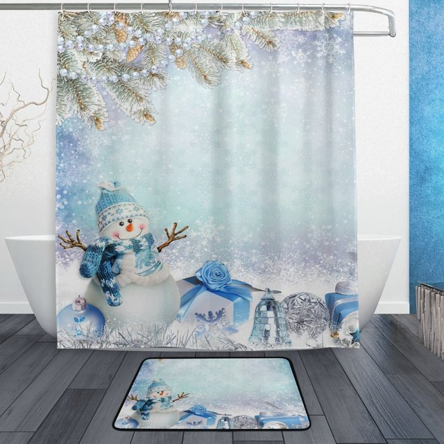 Winter Snowflake Shower Curtain And Mat Set Christmas Snowman Pine Tree Branches Gifts Waterproof Fabric