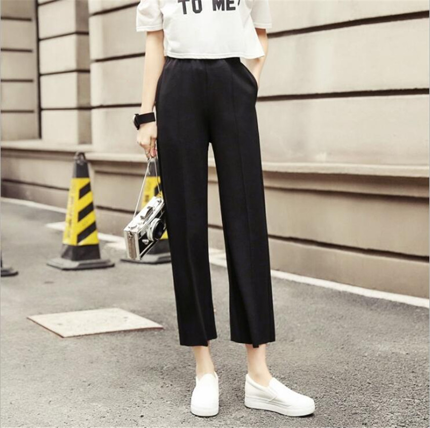 KMUYSL Korean Version Autumn Straight tube High waist trousers Large code knitting Women s pants KF002