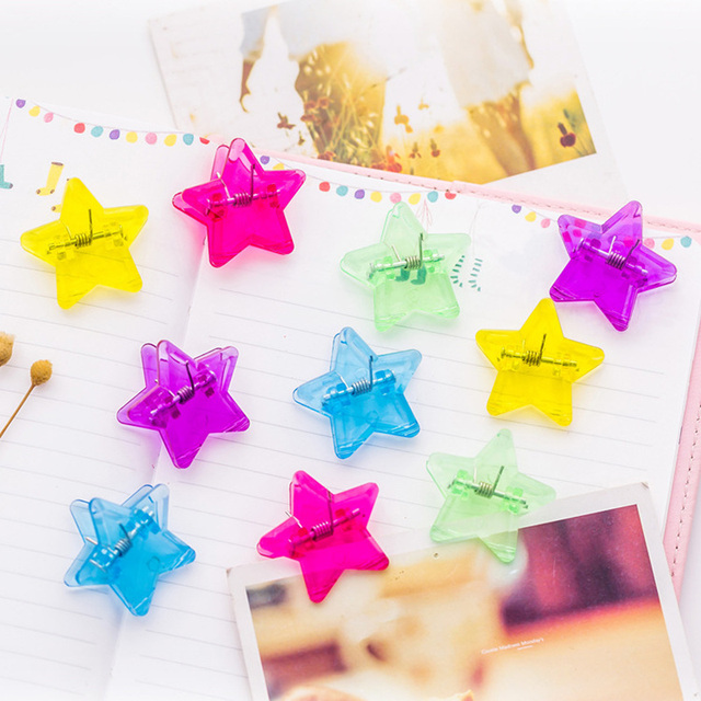 100 Pcs Lot Transpa Color Star Mini Paper Clamp File Memo Clips Sbooking Tools Stationery Office School Supplies A6342