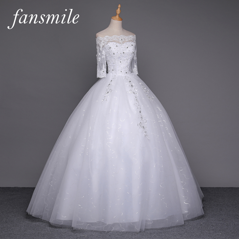 Fansmile Free Shipping Vestido de Novia Lace Ball Wedding Dress Sleeve 2019 Plus Size Bridal Wedding