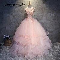 Розовый платья для выпускного вечерние платье Scoop Аппликации из бисера тюль для танцев бальное платье, vestidos De 15 Anos Сладкий 16 платья 152