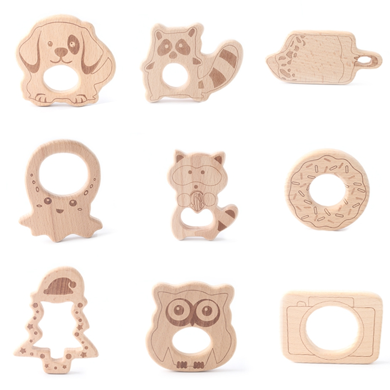 Let's Make Baby Wooden Teethers Rodent Cartoon Animals Beech Wood Christmas Tree Teething BPA Free Tooth Care Products 1pc