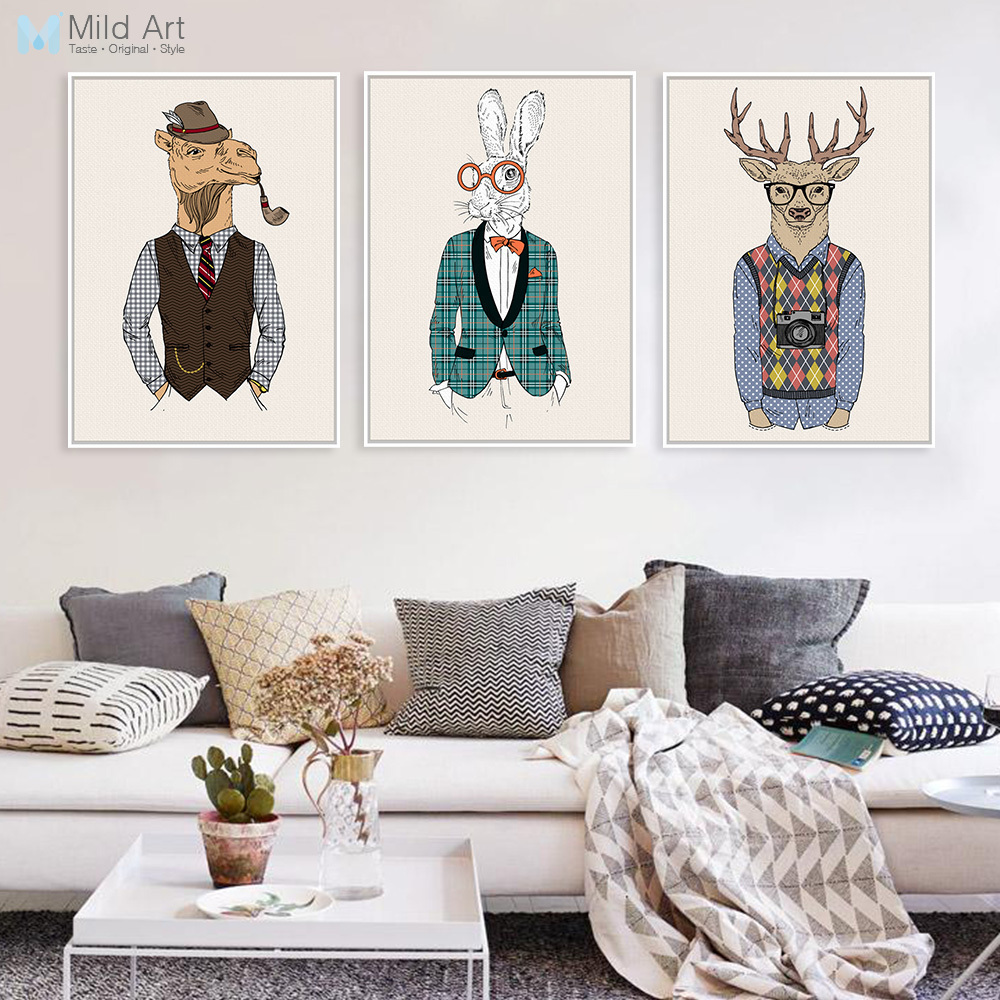 Vintage Fashion Hipster Wild Animals Giraffe Deer Zebra ...