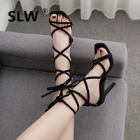 Single cusp shoe strappy heels Rome Solid wedding sandals shoes with feathers Pure colour Sexy High Flock Narrow Band schoenen