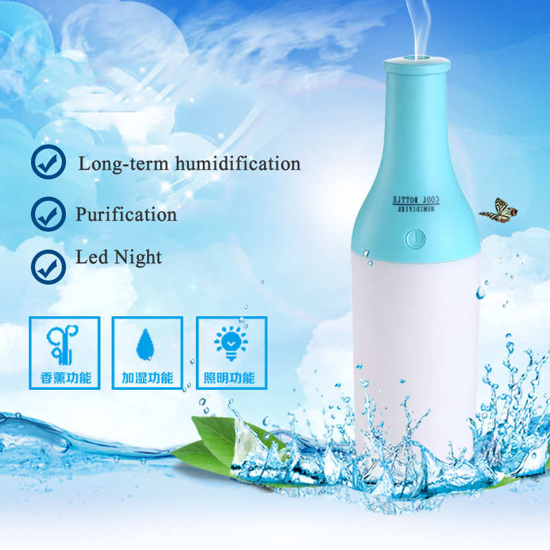 Cool Bottle Mini Ultrasonic Humidifier USB Portable LED Night Light Aroma Diffuser Air Purifier Aromatherapy Mist Maker