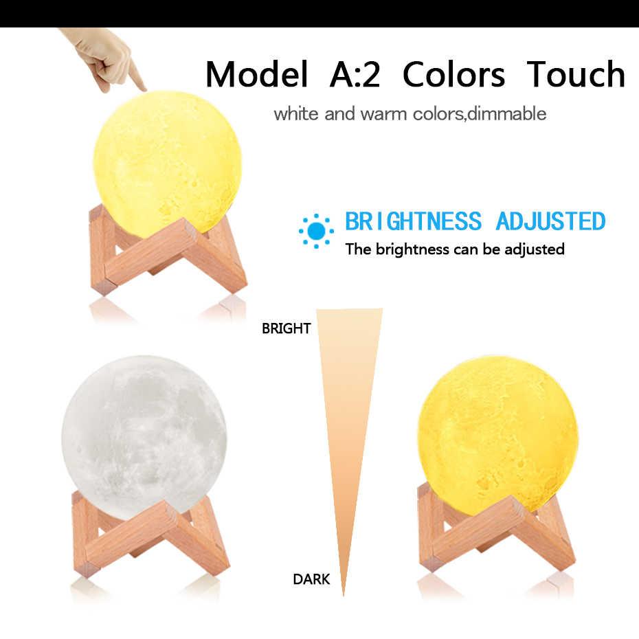 3D 인쇄 16 색상 RGB Led 문 빛 스탠드 원격 및 터치 컨트롤 USB Rechargeble 문 램프 밤 빛 아이 선물