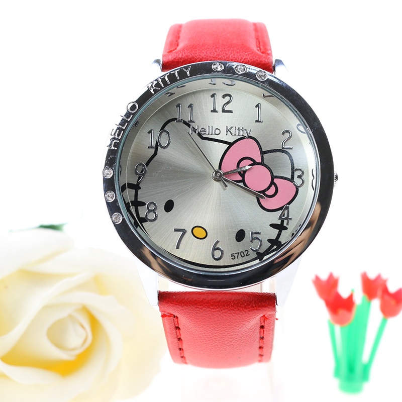Cute Hello Kitty Watch Kids Quartz Leather Child Watches Cartoon Lovely girls Children Clock feminino Relojes Relogio Saati каталка на шнурке brio вертолёт дерево от 1 года зеленый