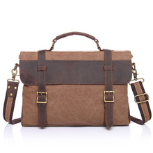 2016 Men Vintage Business Leather Belt + Canvas Shoulder Crossbody Messenger Bag Classic Simple Computer Handbag High Quality