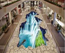 Any size 3d flooring wallpaper bedroom modern Waterfall lotus carp 3d floor photo wallpapers(China)
