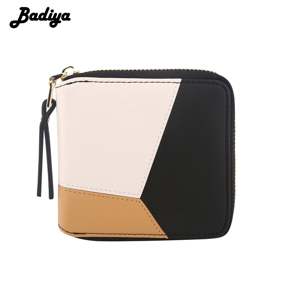 Badiya Patchwork Fashion Women Wallet Brief Design Zipper Wallet With Coin Pocket PU Lea ...