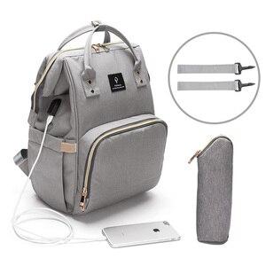 Image 3 - Fashion Maternity Nappy Bag With USB Interface Large Capacity Waterproof Diaper Bag Kits Backpack Maternity Nursing Baby Bag