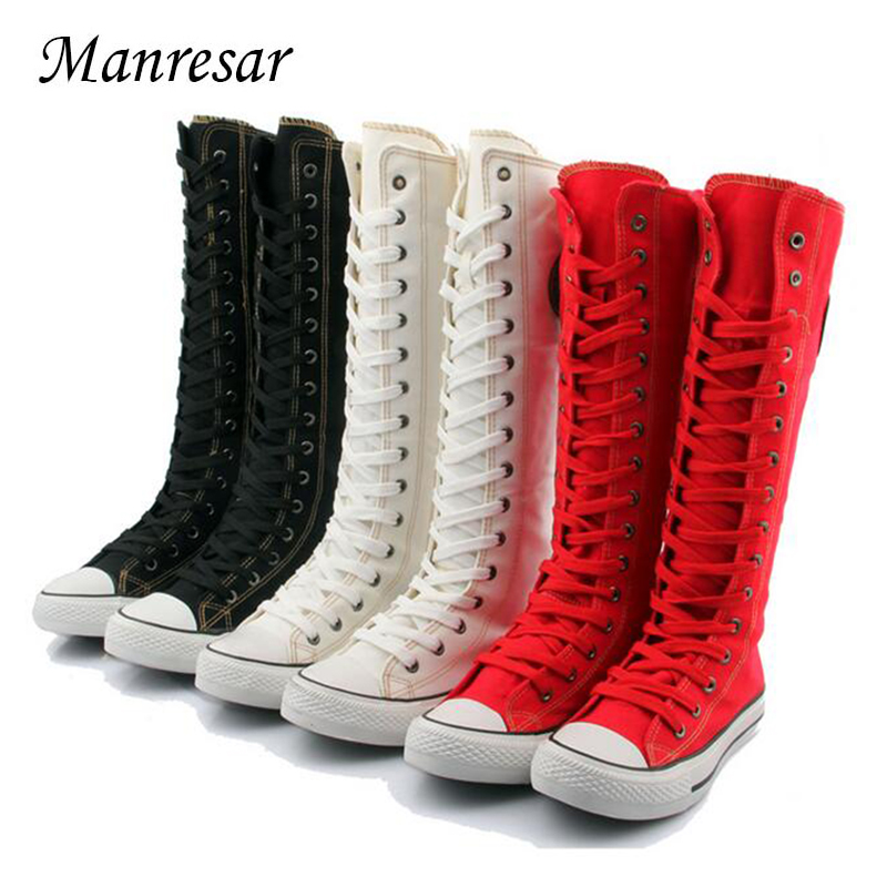 Manresar 2017 New Fashion 7Colors Women's Canvas Boots Lace Zip Knee High Boots Women Boots Flats Casual Tall Punk Shoes Girls цена и фото